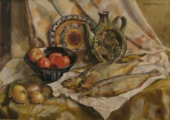 Still life with smoked fish. Lapovok Vladimir