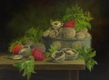 Fomina Lyudmila. Still life with strawberries and nuts