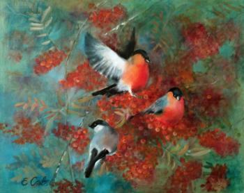 Savelyeva Elena. Bullfinches on mountain ash