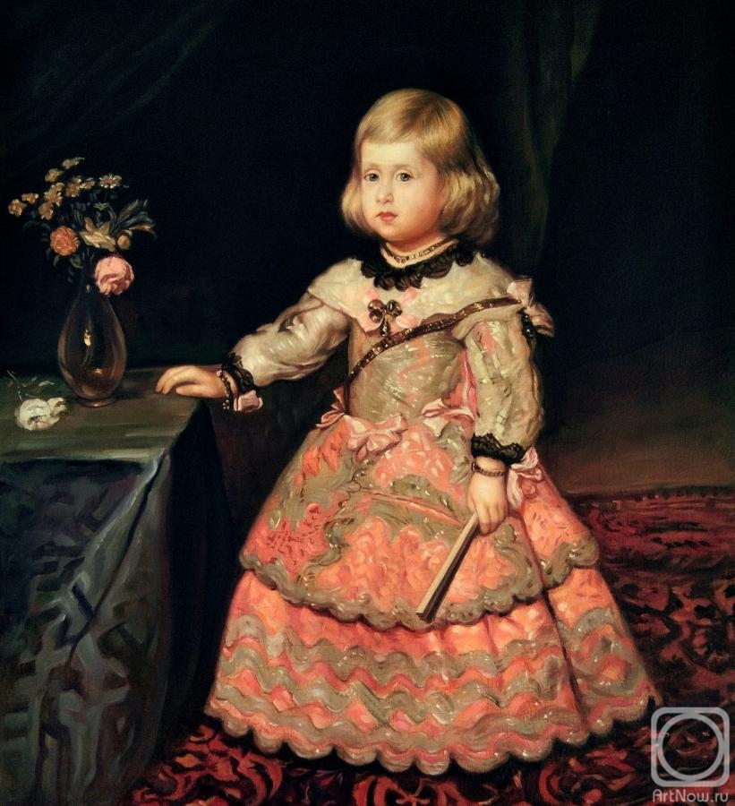 Bruno Augusto. Portrait of Infanta Margarita Teresa in a pink dress. copy of D. Velazquez