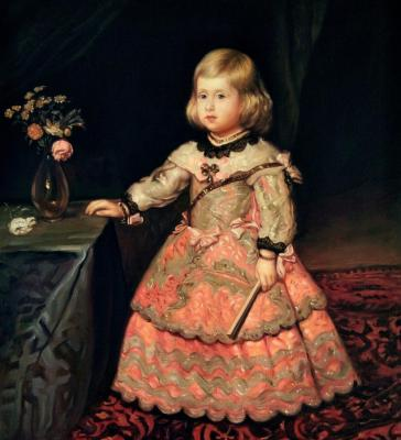 Portrait of Infanta Margarita Teresa in a pink dress. copy of D. Velazquez. Bruno Augusto
