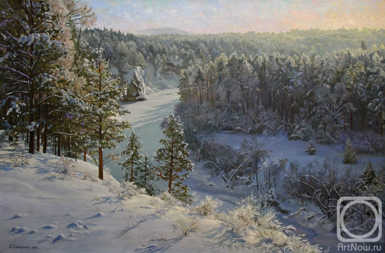 Samokhvalov Alexander. Over the snow-covered river