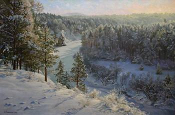 Over the snow-covered river. Samokhvalov Alexander