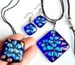 "Jewelry set ""Blue"" glass fusing. Repina Elena"