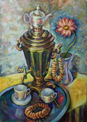 Silaeva Nina. Tea drinking. Russian samovar