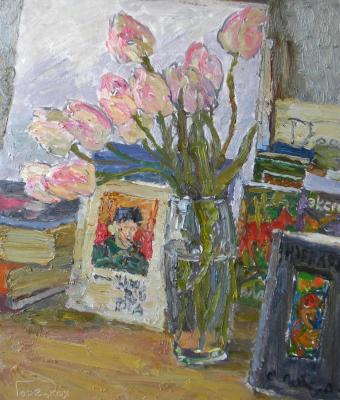 Goretskaya Polina. The pink tulips and van Gogh's portrait