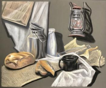 Still life with bread and milk bottle. Lukaneva Larissa