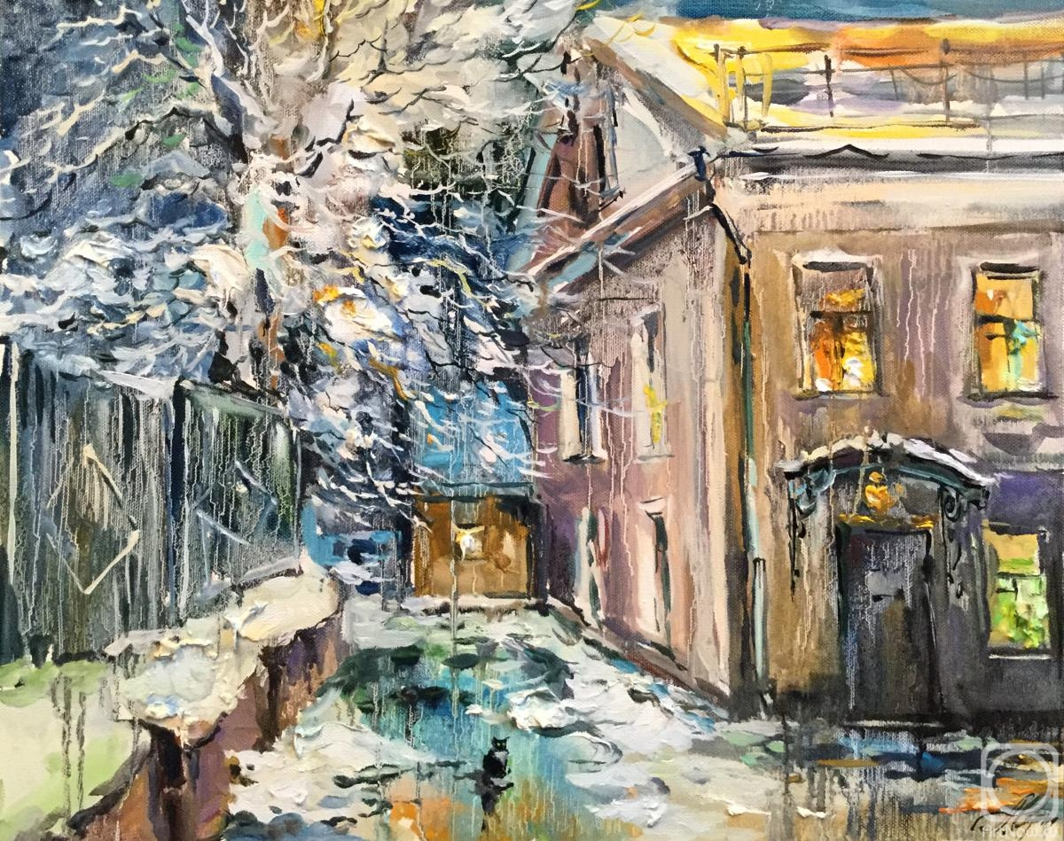 Charina Anna. Winter evening. Courtyard on Pokrovka