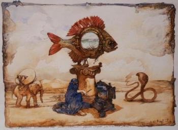 The vision of the steampunk fish in the sound of the flute of the snake Charmer