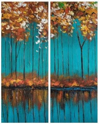 Autumn trees on a turquoise background. Diptych. Dupree Brian