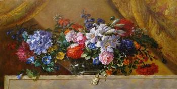 A copy of the painting by Jean-Baptiste Monnoyer. Flowers in a Glass Vase on a Marble Ledge. Kamskij Savelij