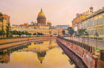 View of St. Isaac's Cathedral from the embankment. Sunset. Romm Alexandr