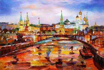 View of the Kremlin through the Big Stone Bridge. Evening (River View). Rodries Jose