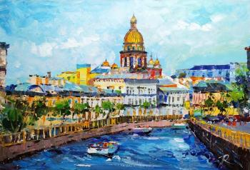 Walking along the canals. View of St. Isaac's Cathedral in the summer (River View). Rodries Jose