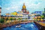 Walking along the canals. View of St. Isaac's Cathedral in the summer. Rodries Jose