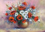 Generalov Eugene. Poppies and chamomiles