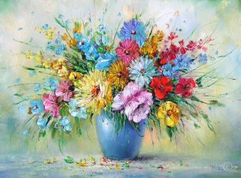 Generalov Eugene. Colourful bouquet in a blue vase