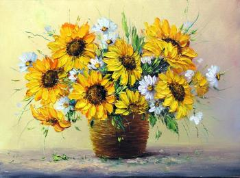 Sunflowers and camomiles in basket. Generalov Eugene
