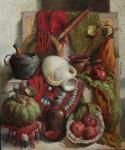 Still life with pomegranates and pumpkins. Smorygina Anna
