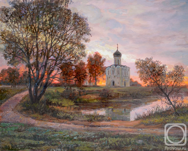 Panov Eduard. Temple at sunset