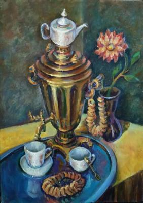 Tea drinking. Russian samovar. Silaeva Nina