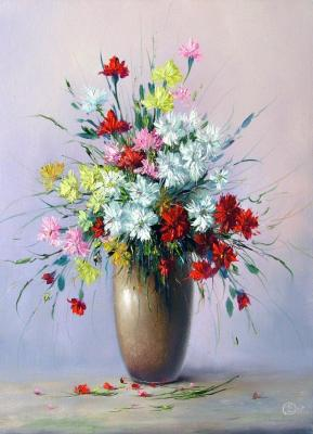Generalov Eugene. Bouquet in a tall vase