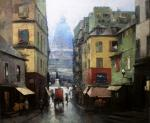 Pryadko Yuri. Latin Quarter Street with Pantheon View