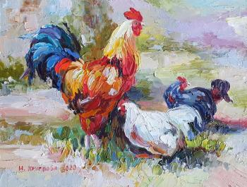 Chickens with a cock. Kruglova Irina