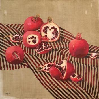 Silk and pomegranate fruits