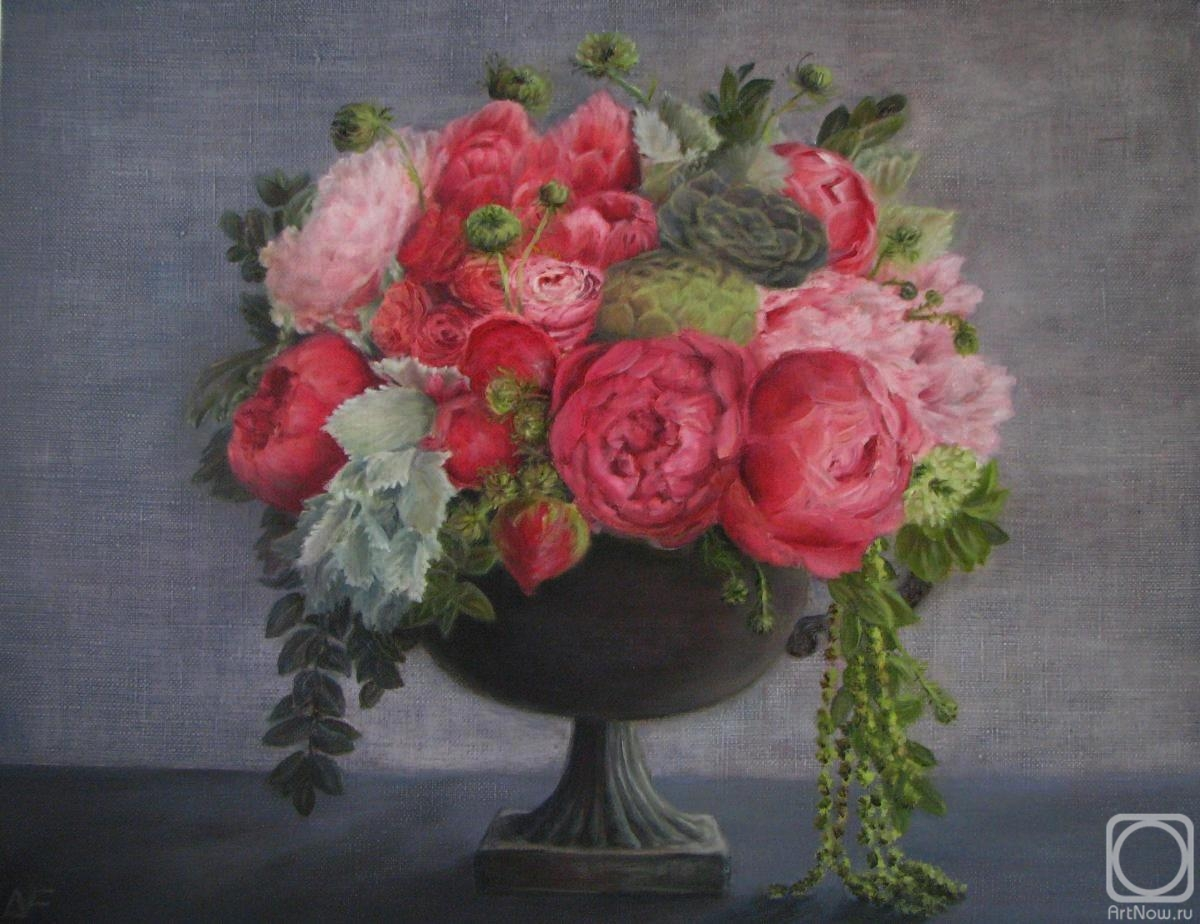 Fomina Lyudmila. A bouquet of peonies in an amphora