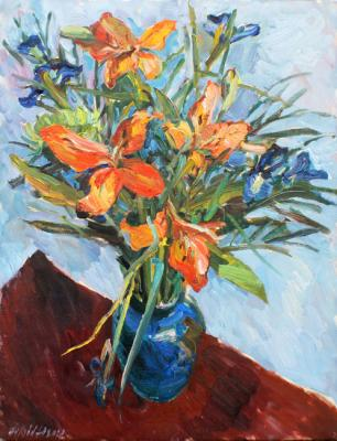 Red lilies in a blue vase. Zhukova Juliya