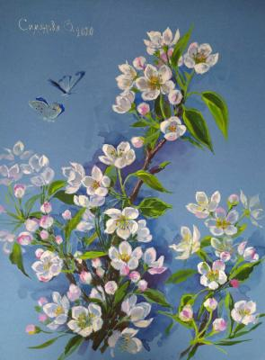 Simonova Olga. Flowering branch of pear
