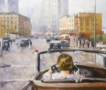 Copy of Yuri Pimenov's painting. New Moscow, 1937. Kamskij Savelij