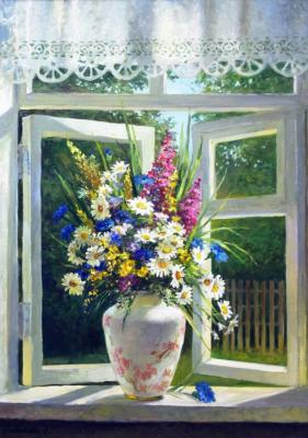 Bouquet of daisies on the window (Window Sill). Grokhotova Svetlana