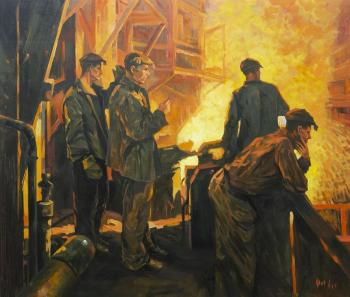 A copy of the painting by Fedor Razin. Steel is coming (the Steelworkers' Team). Kamskij Savelij