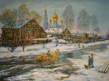 March in the village. Panov Eduard