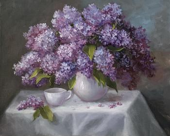 Lilacs in a white vase (Painting In The Room). Kogay Zhanna