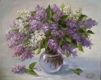 Lilacs in a glass vase (Painting In The Room). Kogay Zhanna