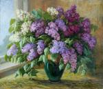 A bouquet of lilacs in a green vase. Shumakova Elena