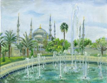 Fountains in front of the Blue Mosque. Istanbul, Turkey. Kashina Eugeniya