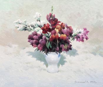 Flowers in a white vase. Gribennikov Vasily