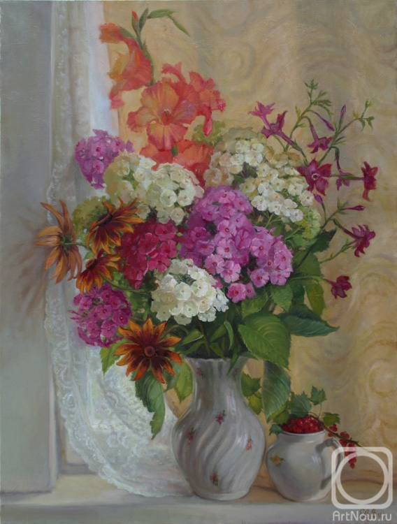 Shumakova Elena. A bouquet of Phlox and gladiolus