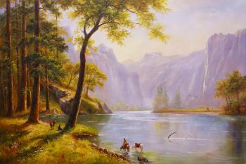 A free copy of Albert Bierstadt's picture. Kern's River Valley, California. Romm Alexandr