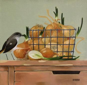 Rustic still life. Bow and bird. Berestova Ksenia