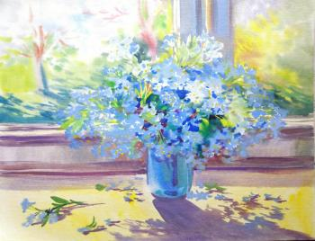 Forget-me-nots on the window. Mikhalskaya Katya