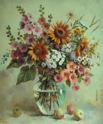 Smorygina Anna. Bouquet with sunflowers and hollyhocks