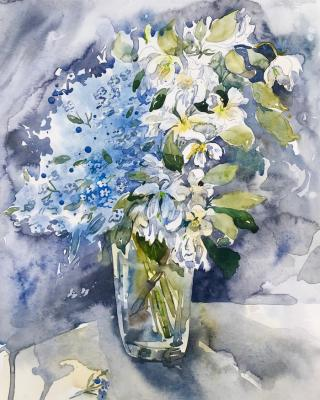 Bouquet with forget-me-nots and apple tree. Kurnosenko Antonina
