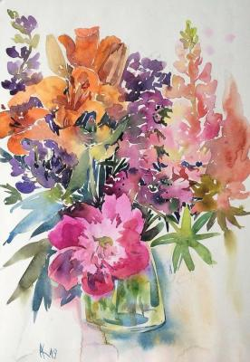 Kurnosenko Antonina. Bouquet with lupins and peony