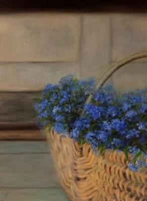 Forget-me-nots in the basket