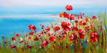 Poppies and the sea. Scarlet and turquoise. Rodries Jose